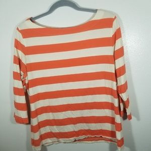 Brooks Brothers Orange and White Striped Top